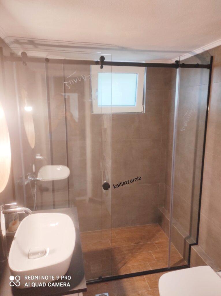 Γύαλινα διαχωριστικά μπάνιου #συρόμενη γύαλινη καμπίνα #γύαλινη καμπίνα #showercabin #glasscabin